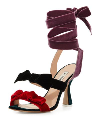 Diletta Velvet Bow Ankle-Wrap Sandal, Multi