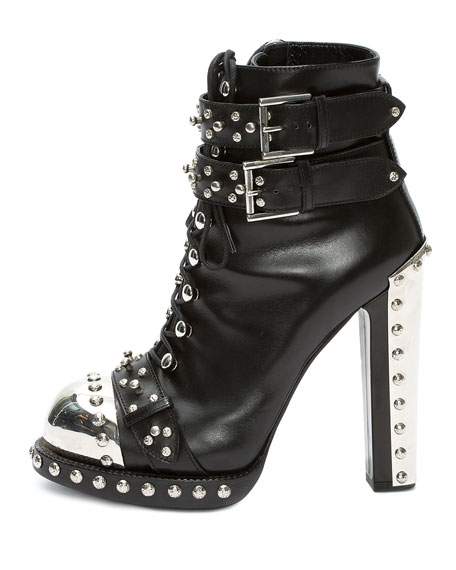 Studded Lace-Up Buckle Bootie, Black