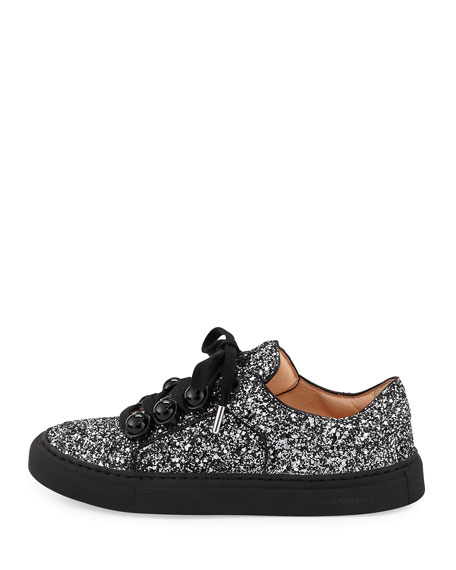 Glitter Dome-Studded Low-Top Sneakers, Black