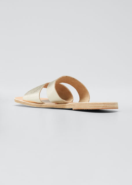 Apteros Cutout Leather Flat Slide Sandals