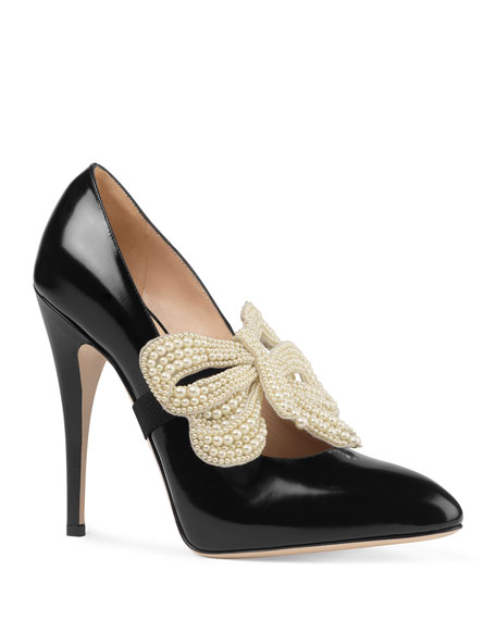 Gucci Elaisa Pearly Bow Pumps, Black