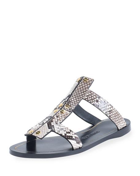 Studded Python Flat Sandal, Gray