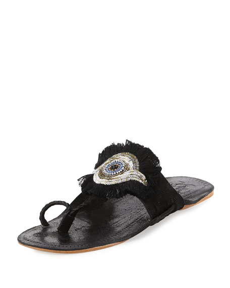 Evil Eye Medallion Flat Slide Sandals, Black