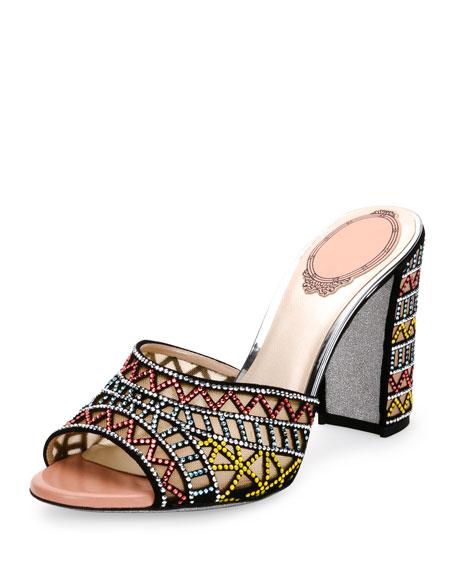 Rene Caovilla Geometric Crystal-Studded Mule Sandal, Multi