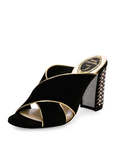 Rene Caovilla Studded Suede Block-Heel Mule Sandal, Black