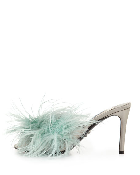 Feather-Embellished Mule Sandal