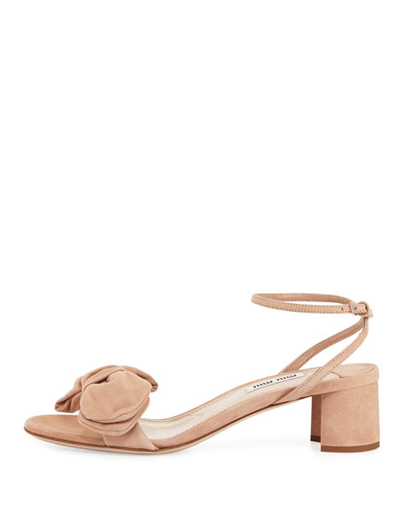 Suede Ankle-Wrap Bow Sandal