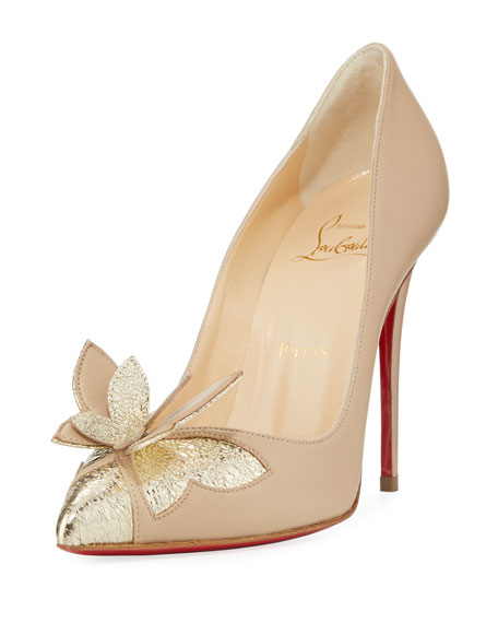 Maripopump Butterfly Red Sole Pump, Nude