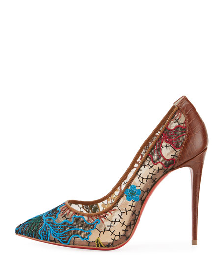 Follies Lace Red Sole Pump, Multi