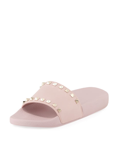Rockstud Pool Slide Sandals, Rose, Water Rose