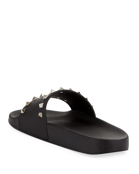Rockstud Pool Slide Sandal, Black