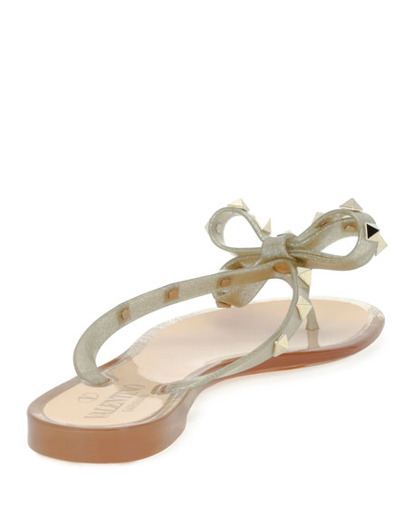 Rockstud PVC Flat Thong Sandals, Gold
