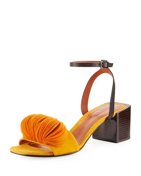 Riza Petal-Embellished Block-Heel Sandal, Tangerine