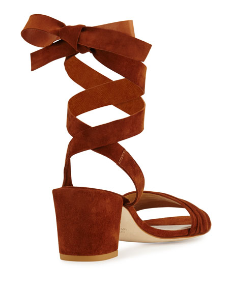 Swifty Suede Ankle-Wrap Sandal