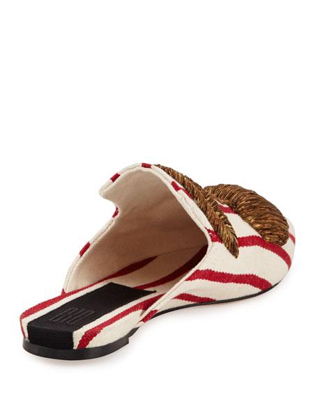 Ciliegia Striped Mule Slide, White/Red