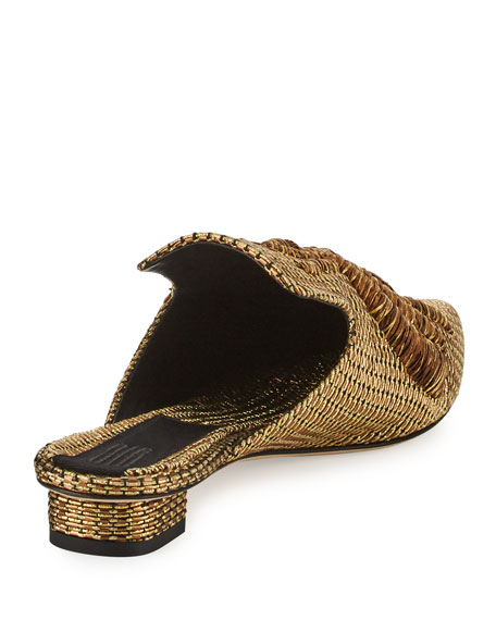 Ragno Embroidered Mule Slide, Gold