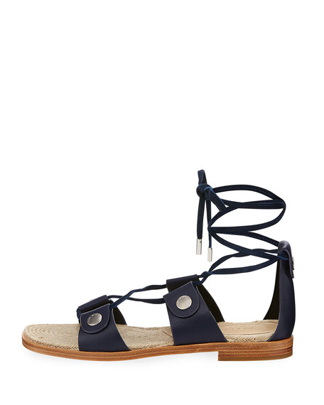 Evelyn Lace-Up Flat Leather Sandal
