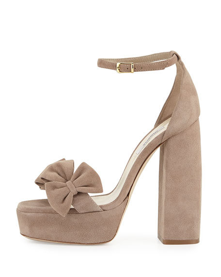 Delicate Candice Suede Platform Sandal, Nude