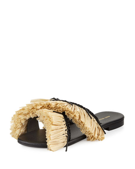 St. Tropez Fringed Raffia Slide Sandal
