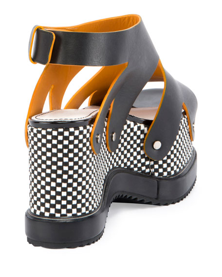 Checkerboard Platform Leather Sandal, Black
