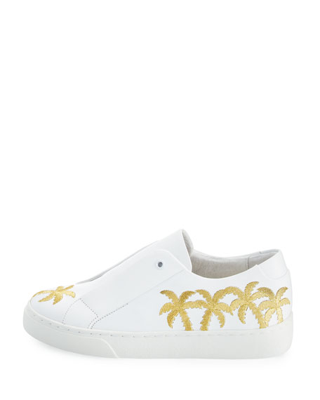 Beverly Palm-Embroidered Sneakers, White/Gold