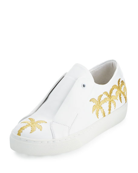 Beverly Palm-Embroidered Sneaker, White/Gold