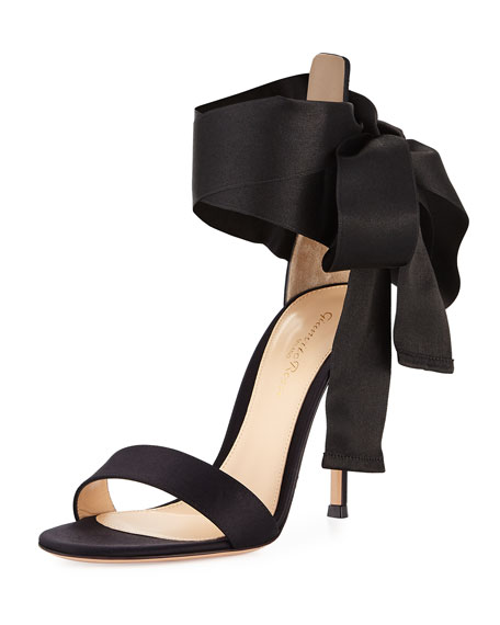 Satin Ankle-Tie Sandal, Black