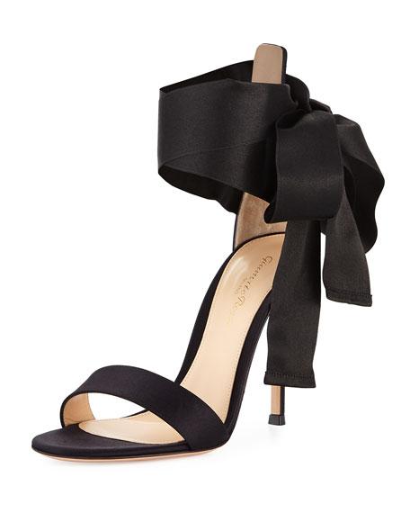Satin Ankle-Tie Sandal, Black