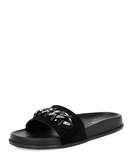 Valentino Chain-Trim Suede Pool Slide Sandal, Black