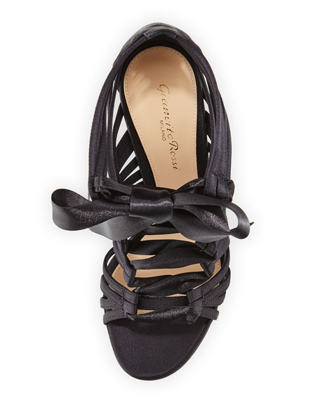Strappy Lace-Up Satin Sandal, Black