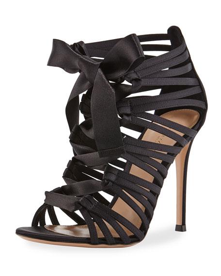 Strappy Lace-Up Satin Sandal, Black