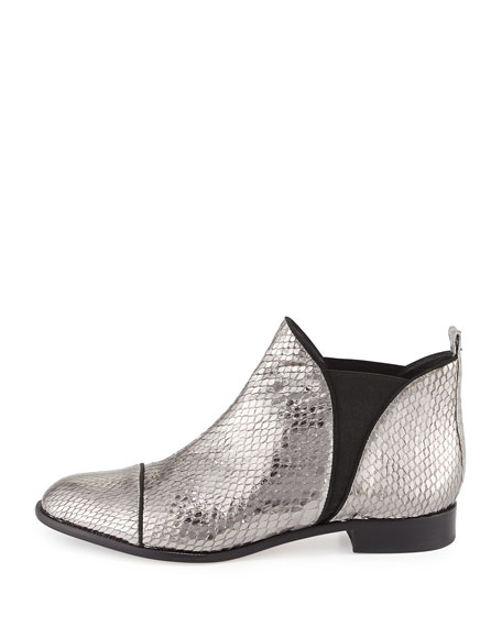 Carly Python Flat Chelsea Boot, Silver