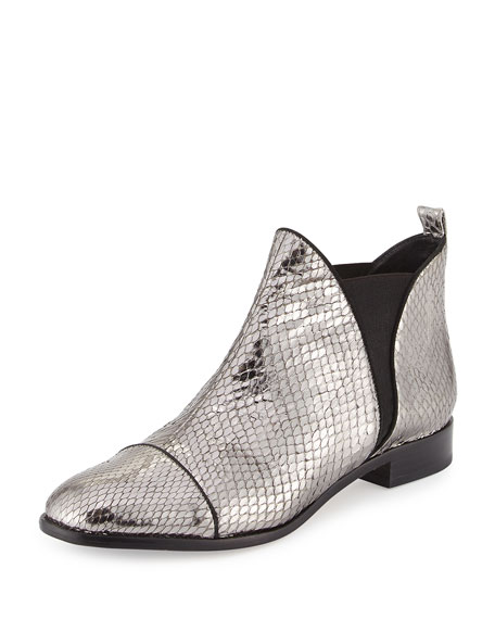Alexandre Birman Carly Python Flat Chelsea Boot, Silver