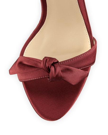 Clarita Satin Ankle-Tie Sandal, Wine