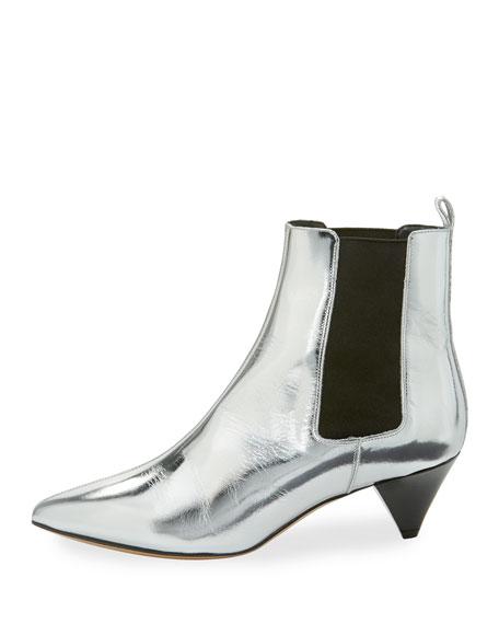 Dawell Low-Heel Chelsea Boot, Silver