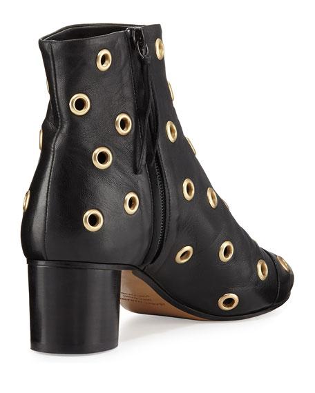Danay Studded Block-Heel Bootie, Black