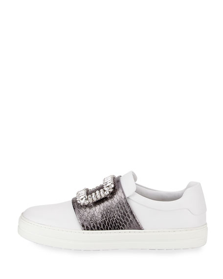 Sneaky Viv Snakeskin Buckle Sneaker, White
