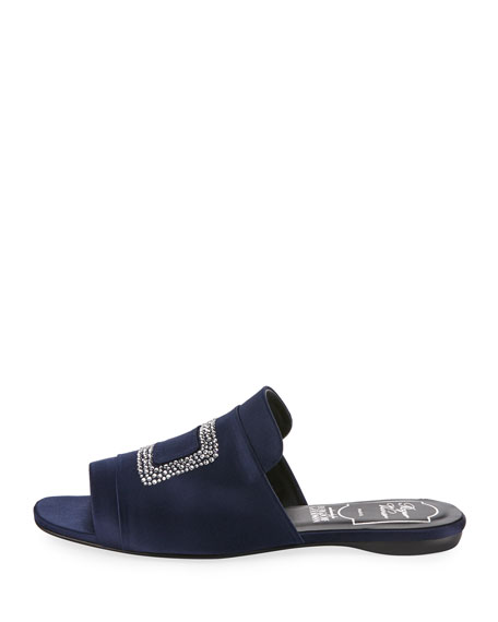 Strass-Embellished Satin Flat Slide, Navy