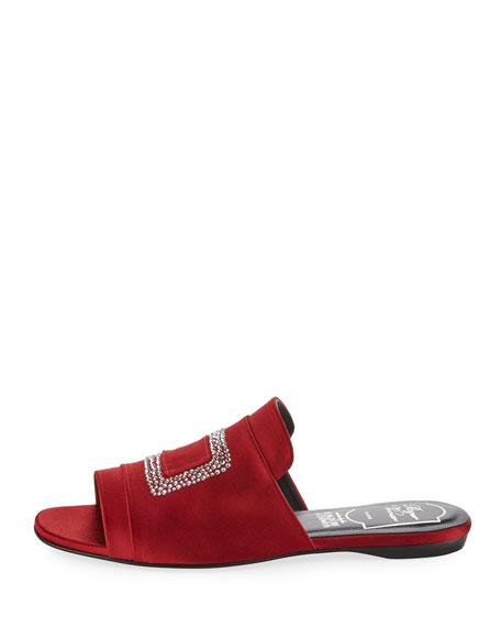 Strass-Embellished Satin Flat Slide, Red