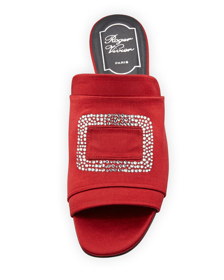 Strass-Embellished Satin Flat Slide, Red
