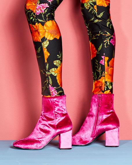 Velvet Block-Heel Boot