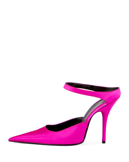Satin Point-Toe Mule Pump, Pink