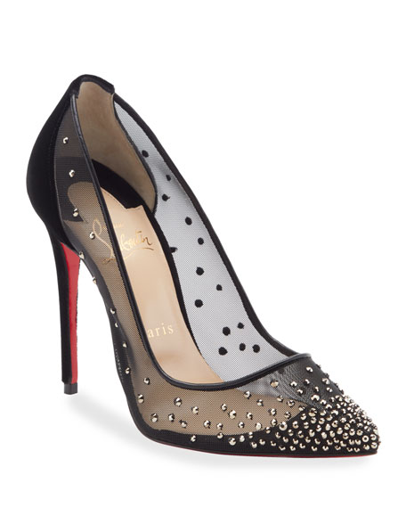 Follies Strass-Embellished Red Sole Pumps