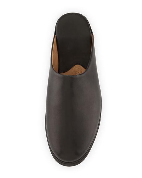 Eric Flat Leather Mule Slide, Black