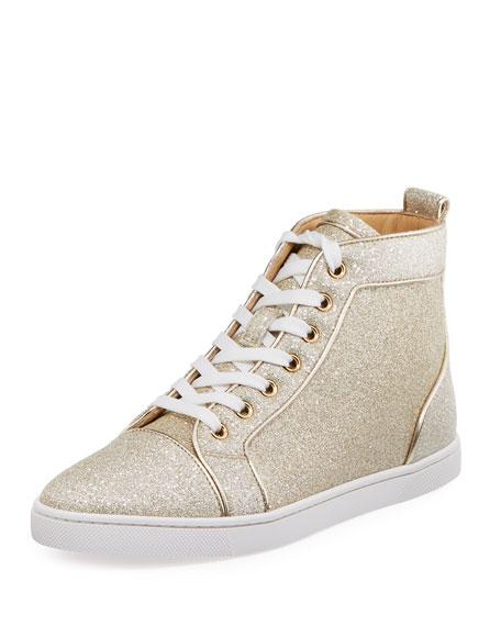 Bip Bip Glittered Fabric High-Top Sneaker, White