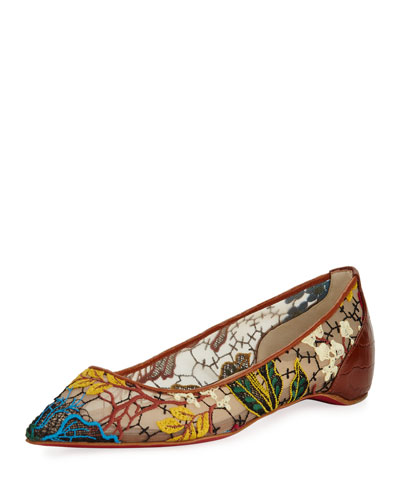 Follies Embroidered Red Sole Flat