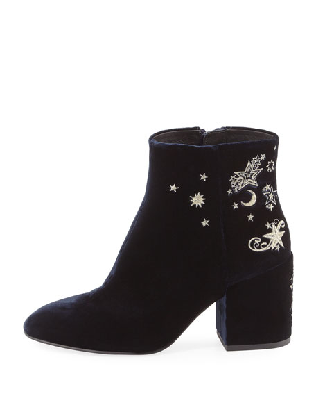 Elixir Embroidered Velvet Boot, Black