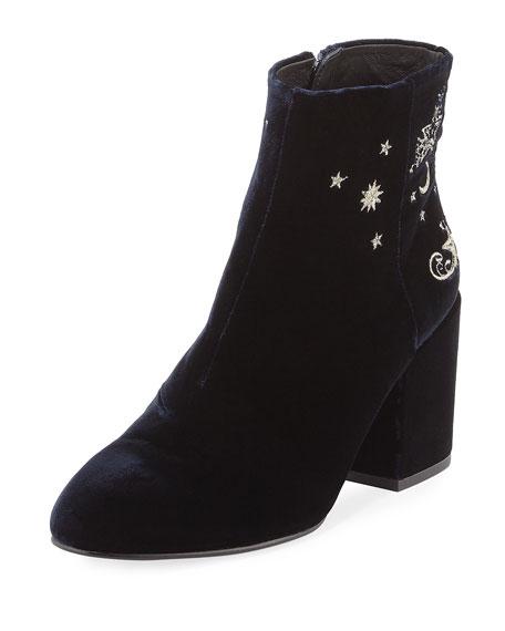 Elixir Embroidered Velvet Boot, Black