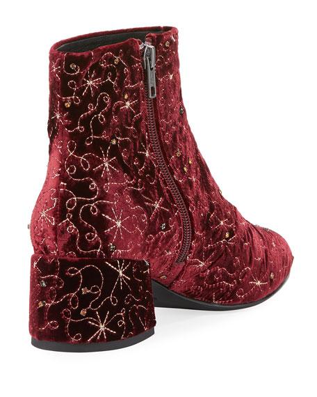 Diamond Bis Embroidered Velvet Boot, Dark Red