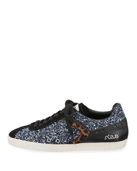 Glittered Fur-Trim Low-Top Sneaker, Black/Blue